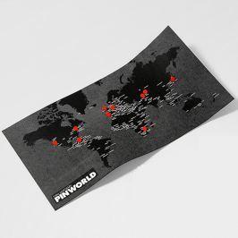 Pin World Mini fekete falitérkép, 77 x 48 cm - Palomar