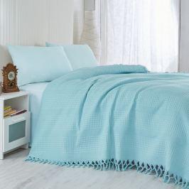 Pique türkiz könnyű ágytakaró, 220 x 240 cm