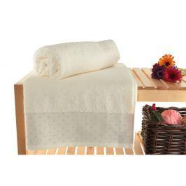 Patricia 2 darab krém színű pamut fürdőlepedő, 90 x 150 cm