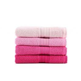 Rainbow 4 darabos rózsaszín pamut törölköző szett, 50 x 90 cm