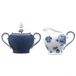 Vintage Indigo porcelán cukortartó és tejeskancsó - Creative Tops