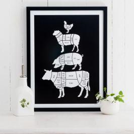 Meat Cuts fekete poszter, 30 x 40 cm - Follygraph