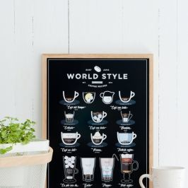 World Style Coffee fekete poszter, 30 x 40 cm - Follygraph