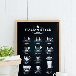 Italian Style Coffee fekete poszter, 30 x 40 cm - Follygraph