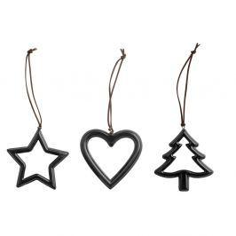 Metal Black 3 darabos karácsonyfadísz készlet - KJ Collection