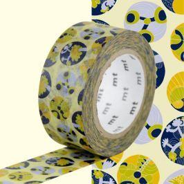 Succulent citromsárga-kék dekortapasz - MT Masking Tape
