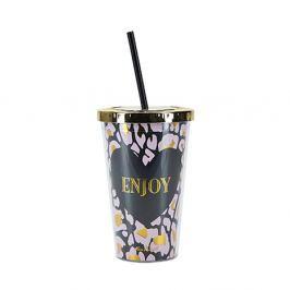 Enjoy fedeles pohár szívószállal, Ø 10 cm - Miss Étoile