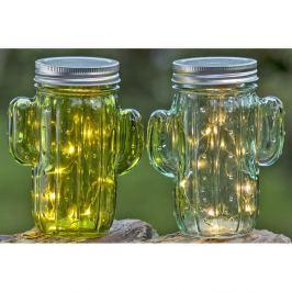 Kaktusz alakú tároló/pohár üvegből, fedéllel, 2 db - Boltze