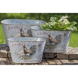Poultry kültéri fém virágcserép, 3 db - Boltze