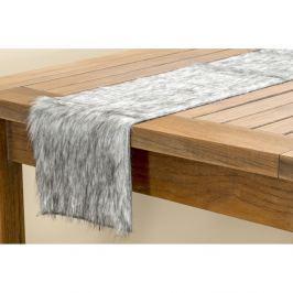 Szürke, bolyhos asztali futó, hossza 120 cm - Boltze
