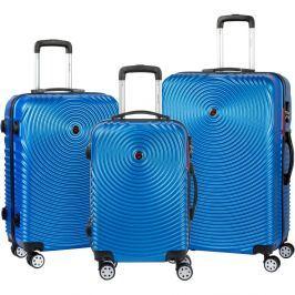 Traveller 3 darabos kék gurulós bőrönd készlet - Murano