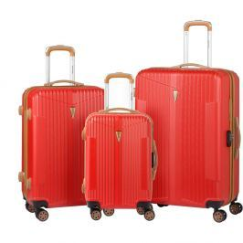 Europa 3 darabos piros gurulós bőrönd készlet - Murano