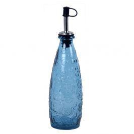 Flora kék üveg palack kiöntővel - Ego Dekor