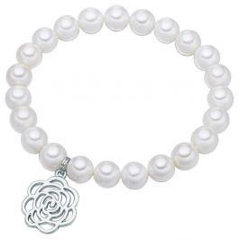 Flower fehér gyöngy karkötő, hossz 19 cm - Pearls of London