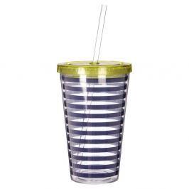 Mimo kék-fehér csíkos pohár zöld fedéllel, 450 ml - Premier Housewares