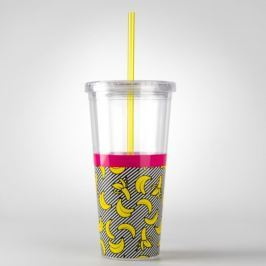 Banana fedeles pohár szívószállal, 600 ml - Just Mustard