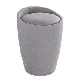 Linen Look világos szürke szennyestartó kosár és ülőke, 20 l - Wenko